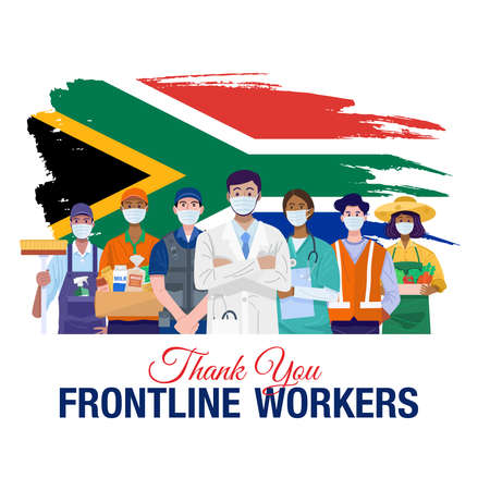 Thank you frontline workers. Various occupations people standing with flag of South Africa. Vector 向量圖像