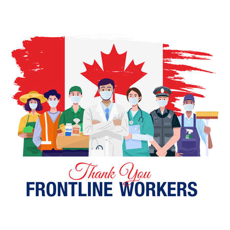 Thank you frontline workers. Various occupations people standing with flag of Canada. Vector 向量圖像