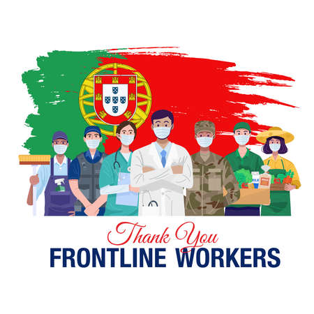 Thank you frontline workers. Various occupations people standing with flag of Portugal. Vector