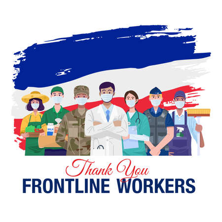 Thank you frontline workers. Various occupations people standing with flag of France. Vector