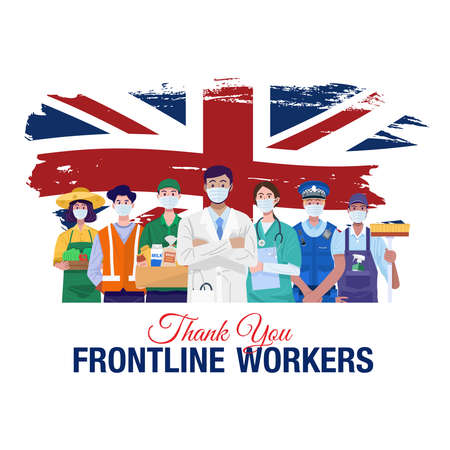 Thank you frontline workers. Various occupations people standing with flag of United Kingdom. Vector 向量圖像