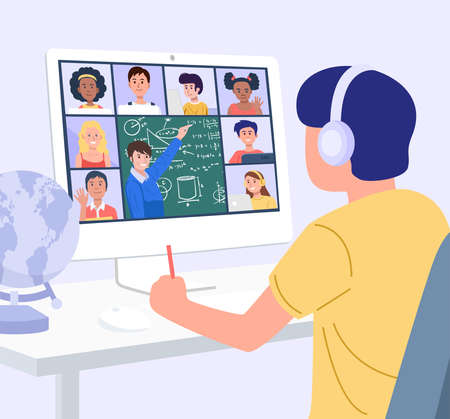 Home Education Concept. A boy learning with computer at home. Vector Vector Illustration