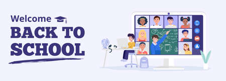 Backto school concept. A boy having video conference with teacher and classmates at home. Vector