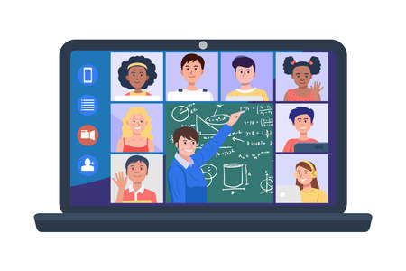 Illustration of teacher and students at video conference on laptop. Vector