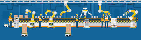 Industry 4.0 concept, Automated production line with workers. Vector 矢量图像