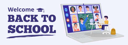 Back to school concept. A boy having video conference with teacher and classmates at home. Vector