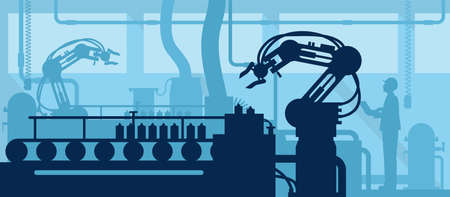 Industry 4.0 concept, Silhouette of automated production line with worker. Vector