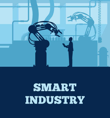 Industry 4.0 concept, Silhouette of automated production line with worker. Vector 免版税图像 - 153941948
