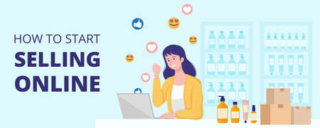 Work from home concept, Happy woman selling products online at home. 矢量图像