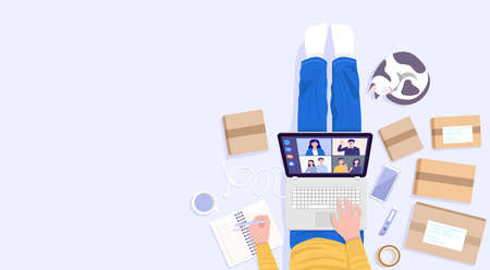 Work from home concept, Top view of young man sitting on floor and using laptop for selling products at home. Vector