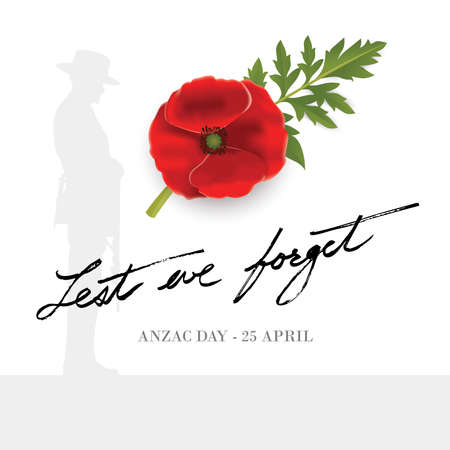 Anzac Day Banner with silhouette of soldier paying tribute and poppy flower, Vector 免版税图像 - 154556055