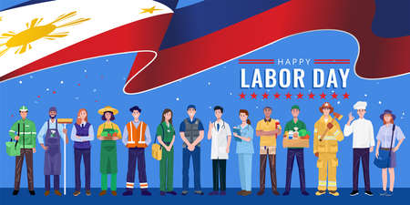 Happy Labor Day. Various occupations people standing with The Philippines flag. Vector 免版税图像 - 154987921