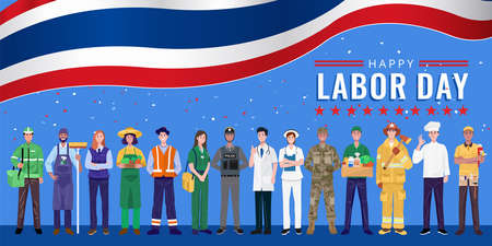 Happy Labor Day. Various occupations people standing with Thailand flag. Vector 矢量图像