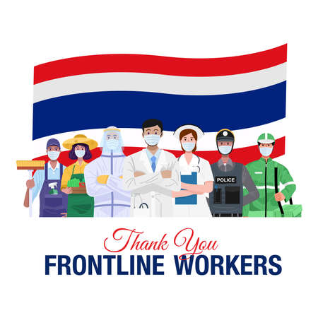 Thank you frontline workers. Various occupations people standing with flag of Thailand. Vector