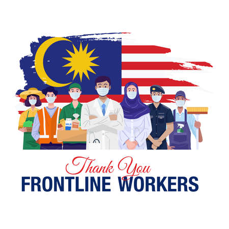 Thank you frontline workers. Various occupations people standing with flag of Malaysia. Vector