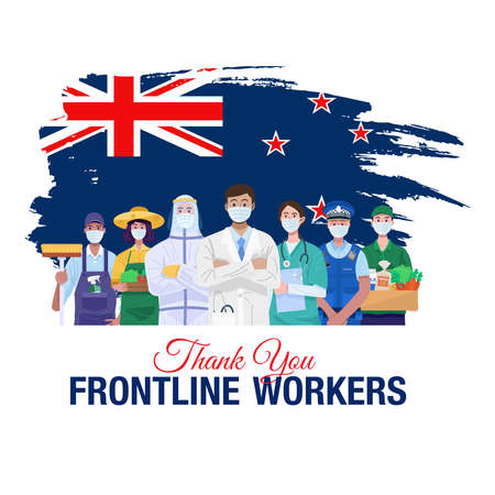 Thank you frontline workers. Various occupations people standing with flag of New Zealand. Vector