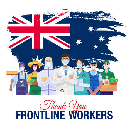 Thank you frontline workers. Various occupations people standing with flag of Australia. Vector