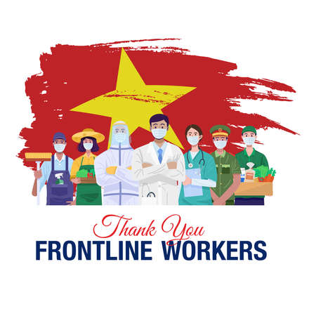 Thank you frontline workers. Various occupations people standing with flag of Vietnam. Vector 免版税图像 - 155234255