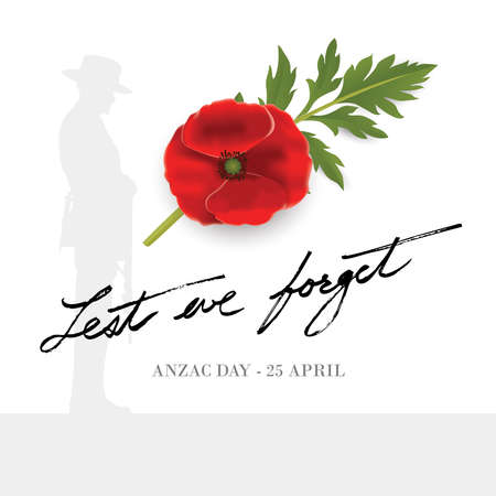 Anzac Day Banner with silhouette of soldier paying tribute and poppy flower, Vector 免版税图像 - 155234261