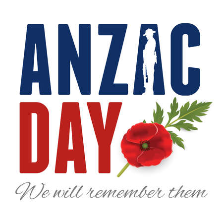 Anzac Day Banner with silhouette of soldier paying tribute and poppy flower, Vector 免版税图像 - 155234264