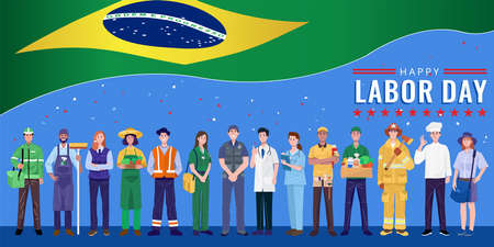 Happy Labor Day. Various occupations people standing with Brazil flag. Vector