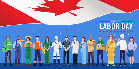 Happy Labor Day. Various occupations people standing with Canada flag. Vector