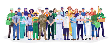 Group of different occupations standing on white background. Vector