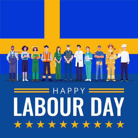 Happy Labor Day. Various occupations people standing with Sweden flag. Vector