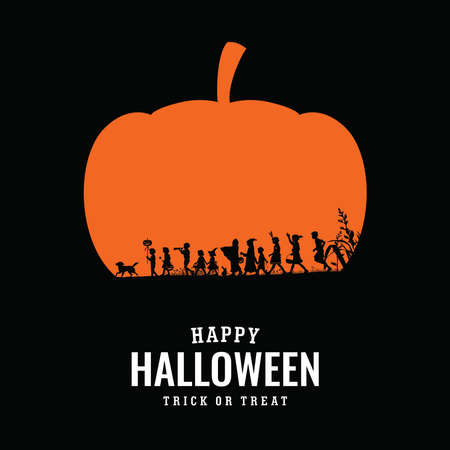 Silhouette of children playing trick or treat on Halloween night, vector illustration 免版税图像 - 154756001
