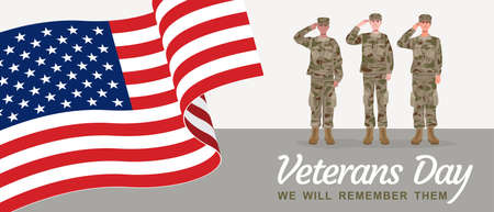 Veterans Day Banner, Soldiers saluting with American flag. Vector