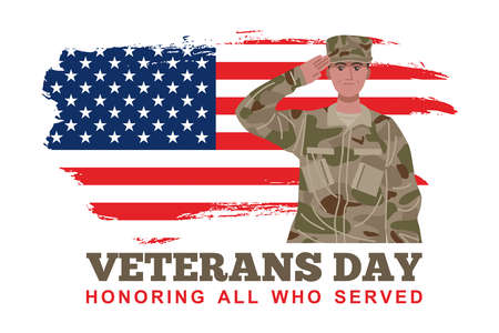 Veterans Day Banner, A soldier saluting with American flag. Vector