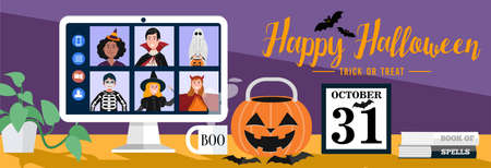 Children in Halloween dress video meetings at home. Vector 免版税图像 - 155819299