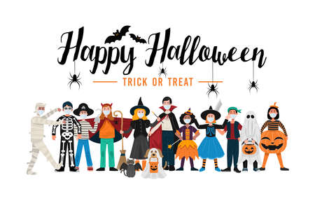 Halloween party background, Kids in Halloween costumes wearing face masks. Vector 矢量图像