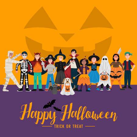 Halloween party background, Kids in Halloween costumes. Vector