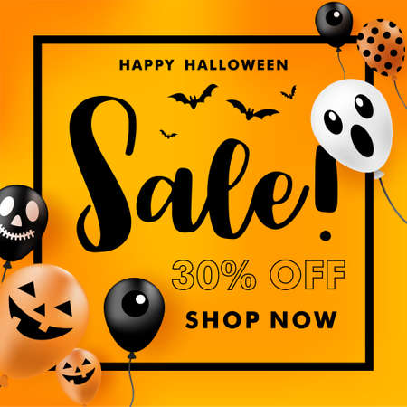 Halloween Sale banner with ghost balloons. Vector illustration. 免版税图像 - 156016364