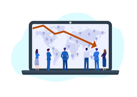 Business concept illustration. Businessmen looking at falling diagram. 矢量图像