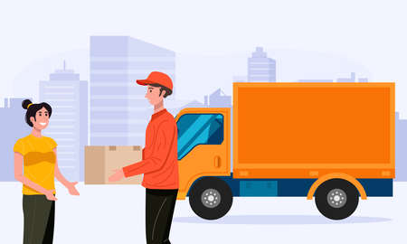Delivery man handling parcel package box to customer. Vector 免版税图像 - 156604832