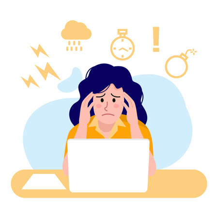 Illustration of busy woman working on computer, Vector