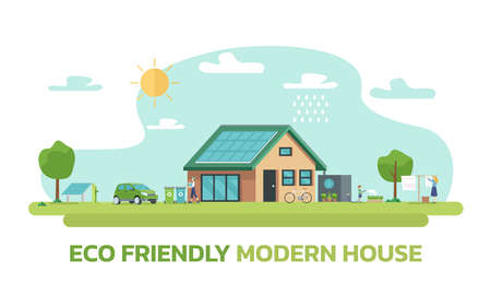 Illustration of happy family and eco friendly sustainable modern house 免版税图像 - 157448779