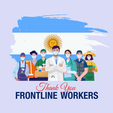 Thank you frontline workers. Various occupations people standing with flag of Argentina. Vector
