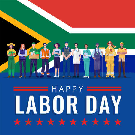 Happy Labor Day. Various occupations people standing with South Africa flag. Vector