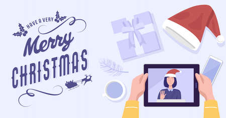 Top view of a man having video conference on tablet with his girlfriend at home on Christmas holiday. Vector 免版税图像 - 157692054