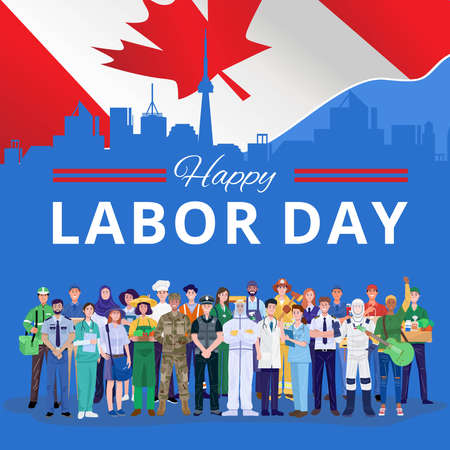 Happy Labor Day. Various occupations people standing with Canada flag. Vector 免版税图像 - 157692055