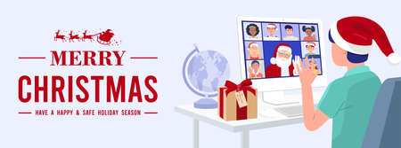 Kid having video conference on computer with Santa Claus and his friends at home. Vector 免版税图像 - 157760200