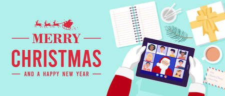 Top view of Santa Claus having video conference on tablet with children at home. Vector 矢量图像