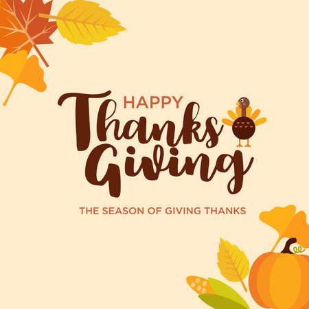 Flat design, Cute cartoon Thanksgiving banner with pumpkin, leaf, turkey, corn, hat and pie, Vector Illustration