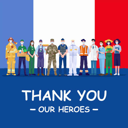 Thank you our heroes. Various occupations people wearing protective masks standing with flag of France. Vector