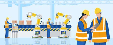 Industrial Engineers using tablet control industrial robotic arms in factory. Vector Vecteurs