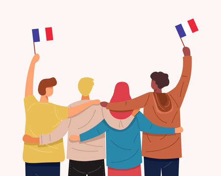 We love France Banner. Back view of people hugging together and holding Flag of France, Vector 免版税图像 - 158247620