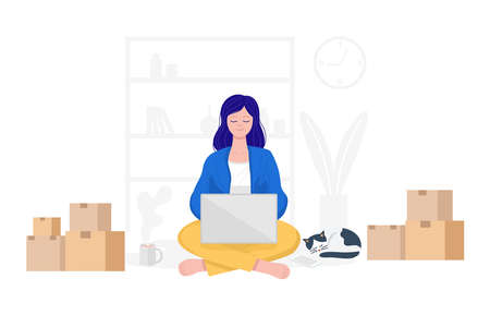 Work from home concept, Happy woman selling products online at home. 免版税图像 - 158247634